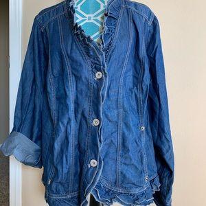 Lane Bryant chambray lyocell ruffle jacket Sz 26